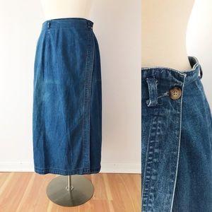 Vintage Talbots Denim Wrap Skirt Midi Length
